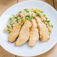 Mustáros sültcsirke zöldséges barna rizzsel