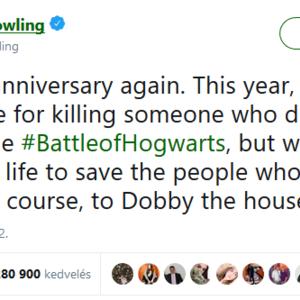 Rowling megint az egyik szereplő halála miatt szabadkozik