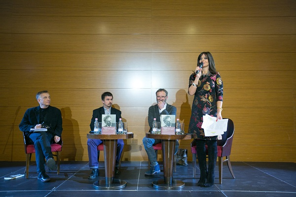 Mácsai Pál, Bíró-Balogh Tamás, Fűzfa Balázs és Juhász Anna a bemutatón<br /><br />Fotó: Zombor Edina