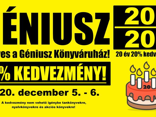 20 éves a Géniusz Könyváruház! -20% KEDVEZMÉNNYEL VÁRUNK!