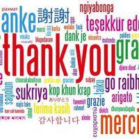 Köszönöm! Thank you! Danke! Merci! Grazie! Gracias! Obrigado! Efharisto! Arigatou gozaimasu!