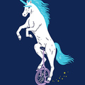Unicorn with Unibrow riding Unicycle