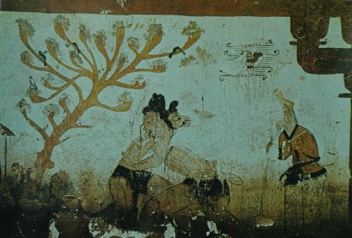 Egy kogurjói sír birkózást ábrázoló freskója