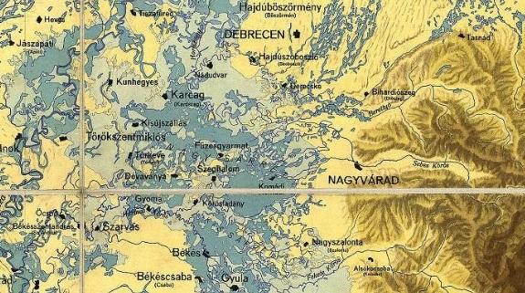 A szabályozás előtti állapot. Jól látszik , hogy meghatározhatatlan a folyómedrek helyzete.