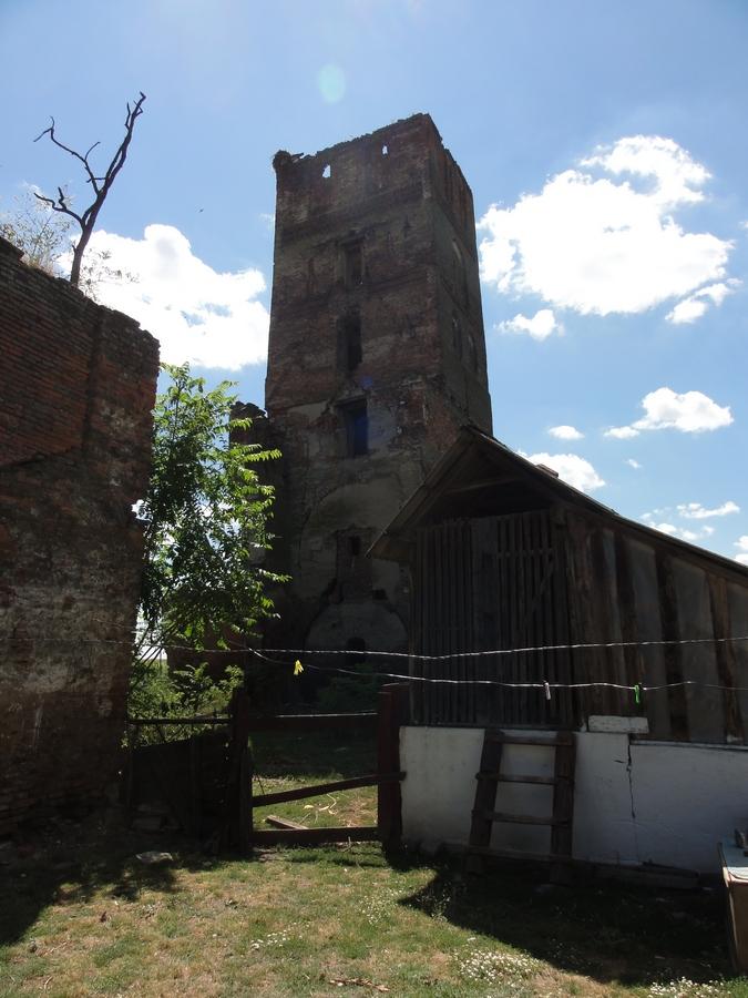A családi ház portáján található Árpád-kori templomrom