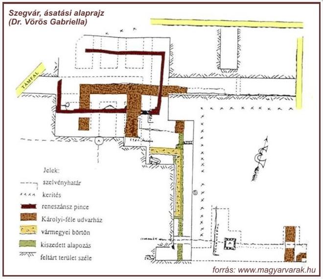 Szegvár, ásatási alaprajz (forrás: Dr. Vörös Gabriella; -http://www.varak.hu/latnivalo/index/399-Szegvar-Var/)