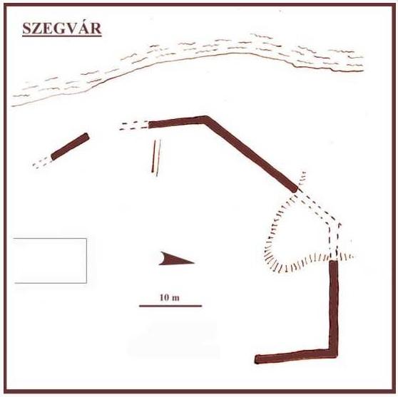 A Kurca partján megmaradt téglafal rajza (forrás: http://www.varak.hu/latnivalo/index/399-Szegvar-Var/)