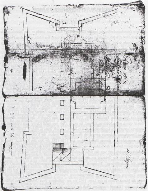 Az egykori Károlyi féle kastély tervrajza (forrás: Országos Levéltár Károlyi család Levéltára P.392.Lad.35.No.50.)