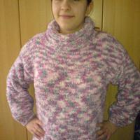 Eszter rózsaszín-szürke pulcsija