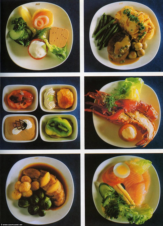 A business classon felszolgált ételek 1981-ből.
