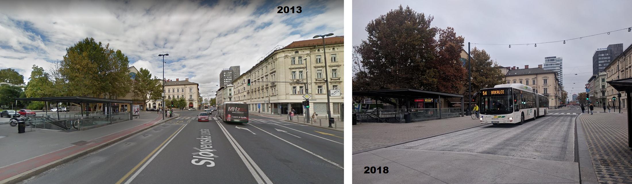 Slovenska Cesta az átépítés előtt és ma