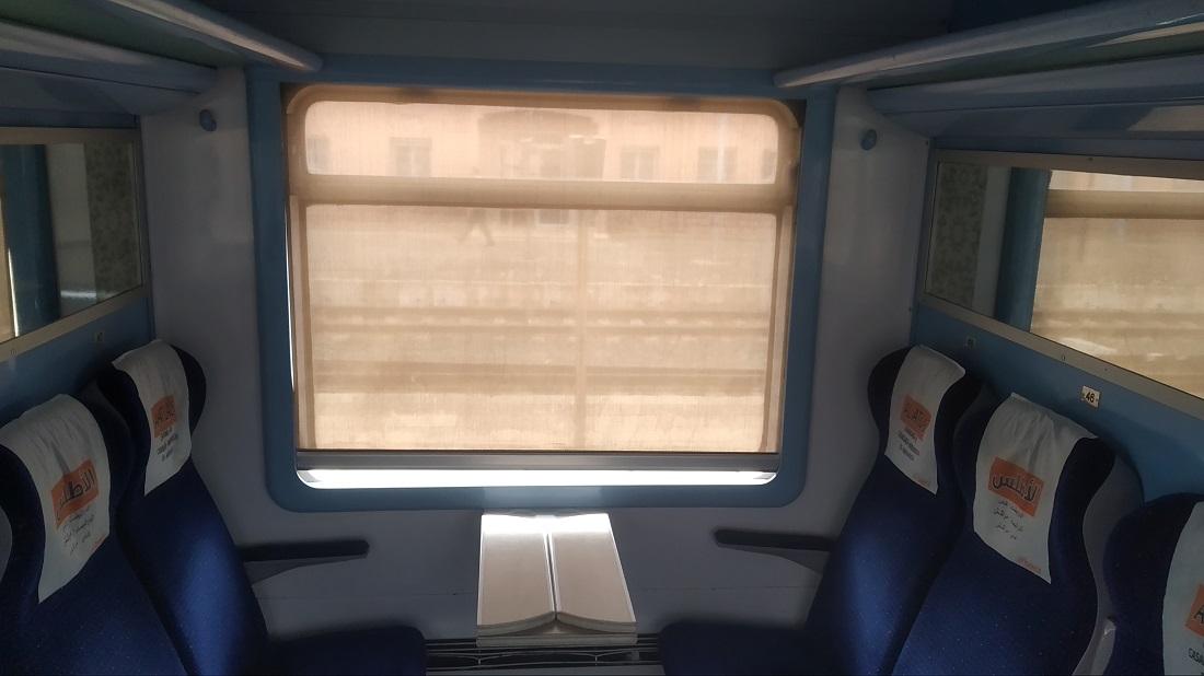 Az Al Atlas vonatokon klímás, 160-as gyorsvonati kocsik járnak – a fülkék tisztasága nagyjából rendben van (ellenben a mindenhol borzasztóan mocskos WC-kkel)