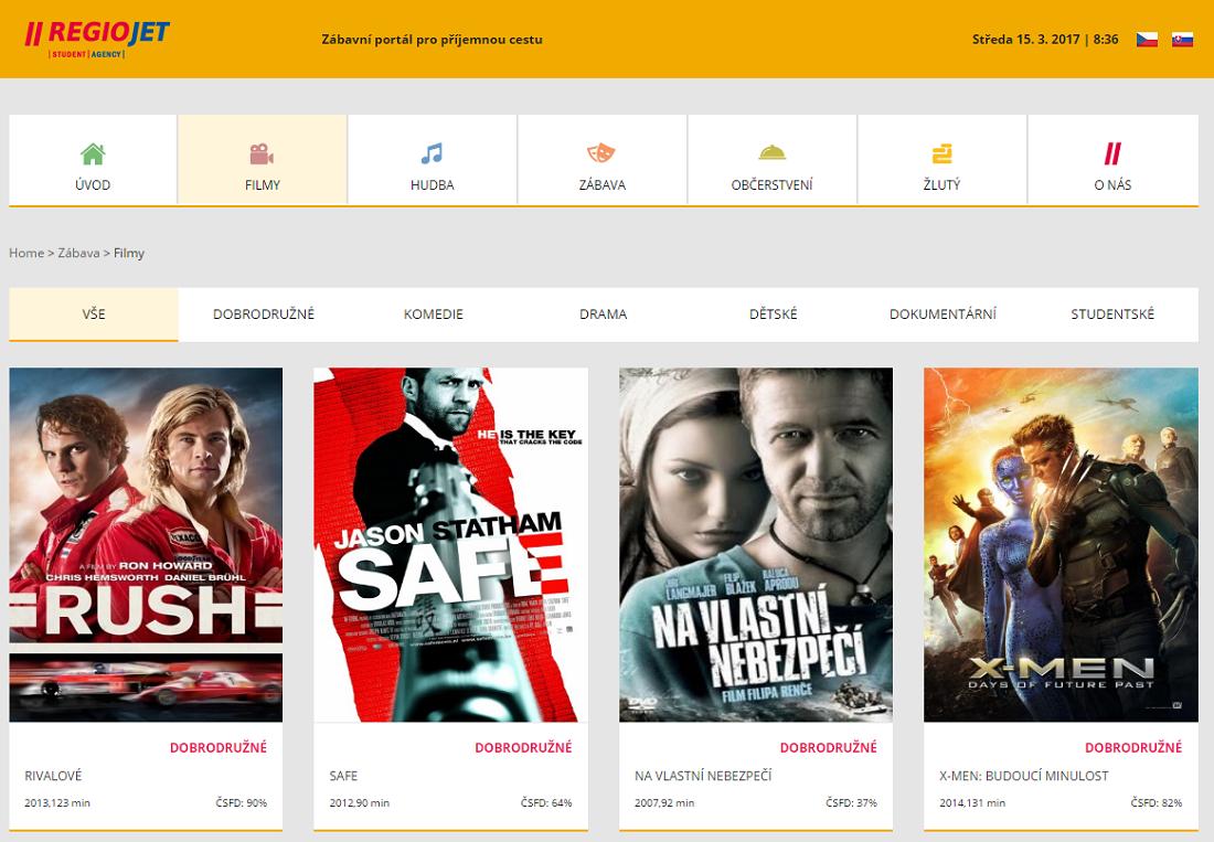 A cseh Regiojet minden járatán hozzáférést biztosítanak egy online szórakoztató portálhoz, melyen többek között filmek és zenék érhetőek el (Forrás: regiojet.cz)
