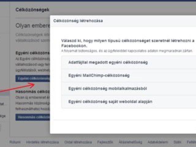 Egyéni célközönség létrehozása a Facebook-on