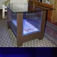 54 literes kék ledes akvárium-dohányzóasztal