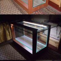 90 literes akvárium-dohányzóasztal, cseresznye