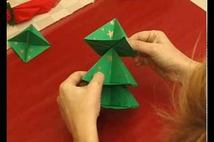 Papír karácsonyfa hajtogatás