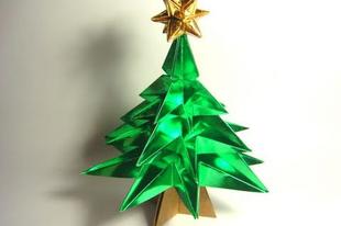 Karácsonyfa hajtogatás színes papírból