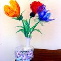 PET virágok és tál