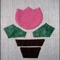 Tulipános kép textilből