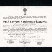 949. Három gyászjelentés a Korchmáros-család tagjairól