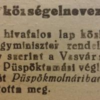 191. Új községelnevezés