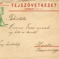 917. A szenttamási tejszövetkezet borítékja 1906-ból