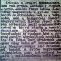 188. Szociáldemokrata gyűlés Rábamolnáriban
