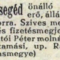 880. Hirdetések a Molnárok Lapjából
