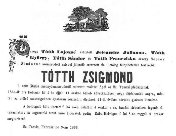 Tótth Zsigmond gyászjelentése.JPG