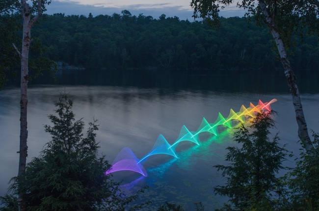 Kajakosok lapátjaira szerelt színváltós lámpa