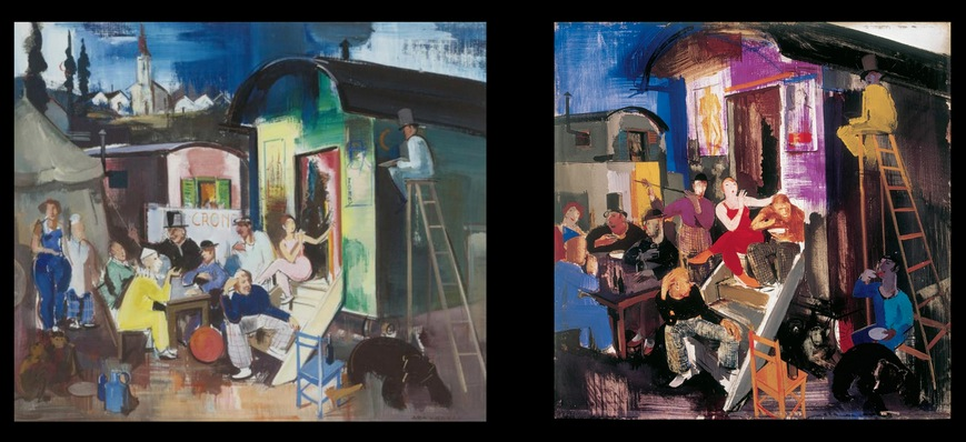 Aba-Novák az egyik legnépszerűbb: balra egy hamis cirkuszos kép, jobbra pedig az eredetije (Forrás: Kieselbach Galéria)