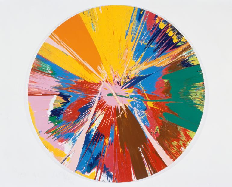 Damien Hirst: Beautiful, shattering, slashing, violent, pinky, hacking, sphincter painting (1995).<br />Fotó: White Cube © Damien Hirst and Science Ltd.