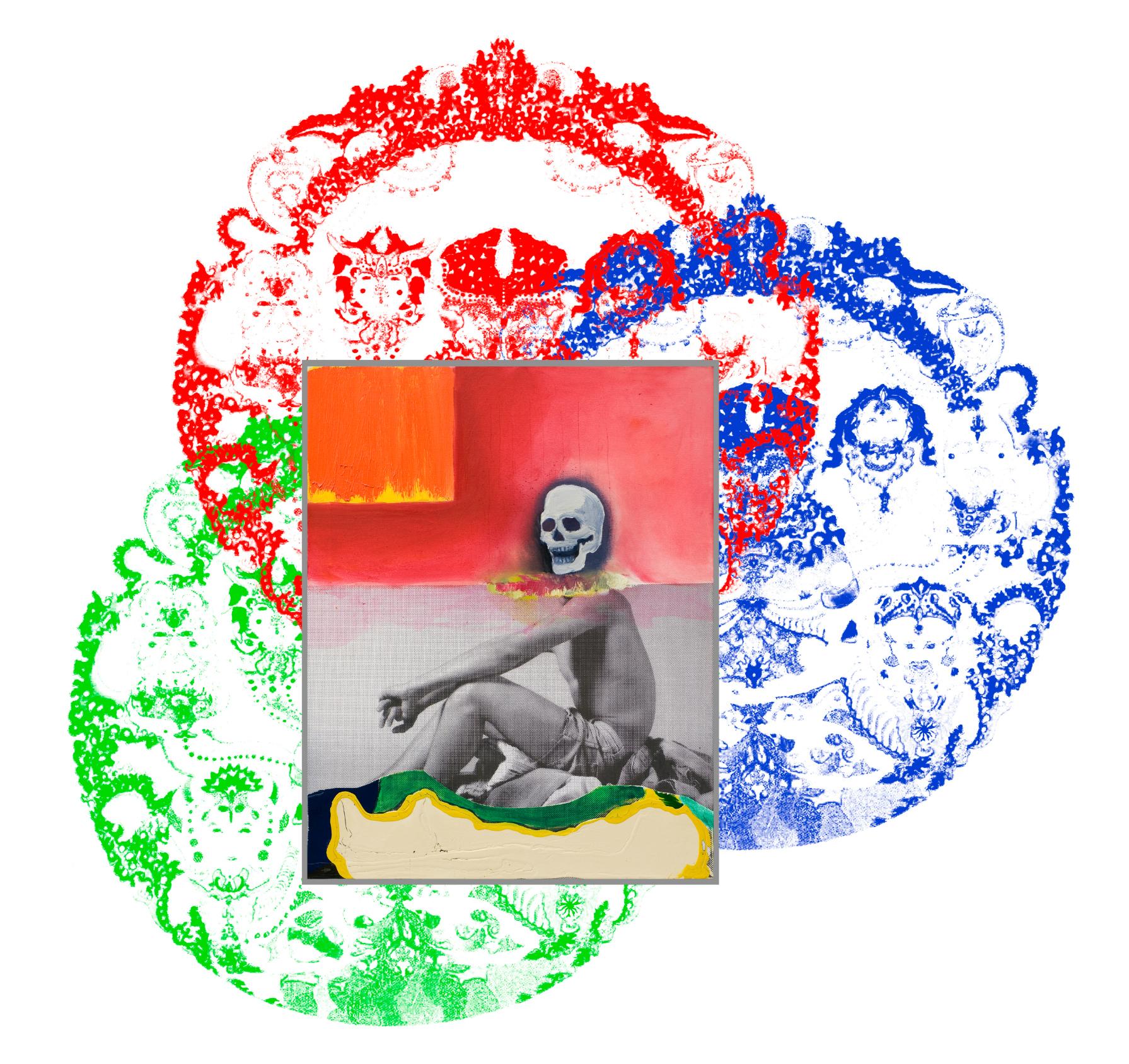 Klaus KILLISCH: Halott őrültek, egyesüljetek! 2015, kollázs, olaj, vászon, fotótapéta, 200 × 200 cm, a művész jóvoltából. Fotó: Magnetberg, Berlin
