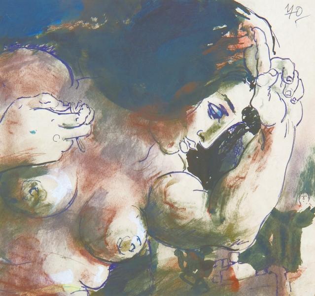 Koloman Sokol: Cím nélkül (Nő profilból) 1953-70, Magángyűjtemény