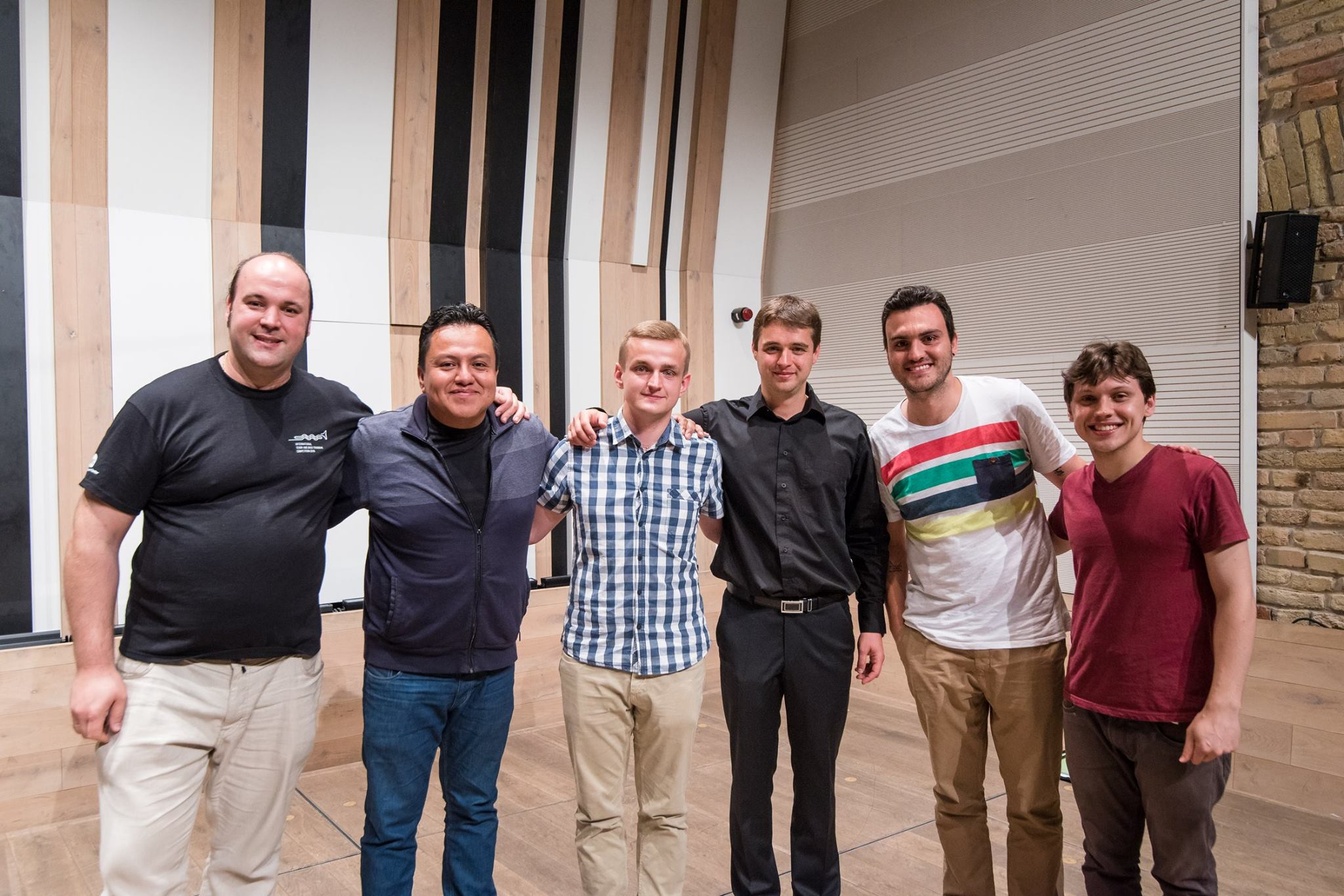 A döntős harsonások balról jobbra: Veér Mátyás, Ricardo Faustino Diaz, Karol Gajda, Juhász István, Sebastian Cifuentes Zuluaga, Adib Corrêa Vera