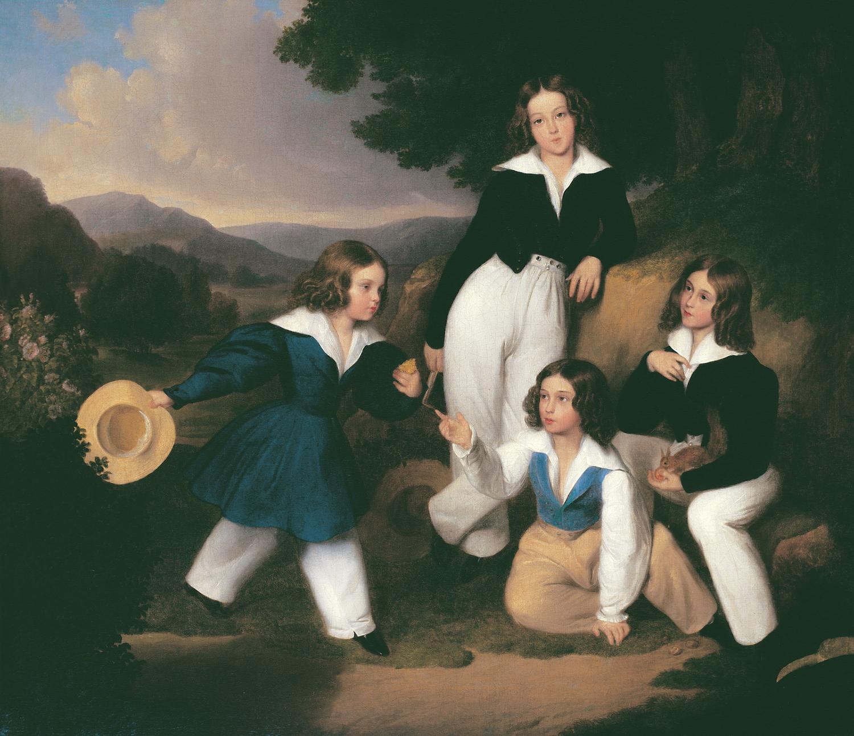 BROCKY Károly (1807-1855): Medgyaszay István fiai (1835) olaj, vászon 60,5 x 72,5 cm, jelzés nélkül Kovács Gábor Gyűjtemény<br />