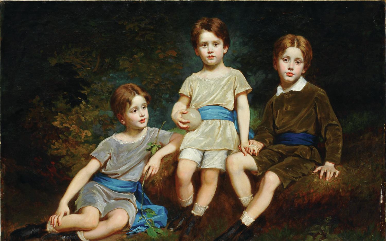 SZÉKELY Bertalan (1835-1910): Pfeffer Ignác unokái (1881) olaj, vászon 124 x 168 cm jelzés nélkül, Kovács Gábor Gyűjtemény