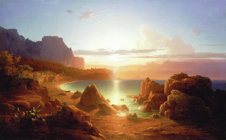 LIGETI Antal (1823-1890): Naplemente Capri szigetén (1860) <br />olaj, vászon 80 x 126 cm jelezve jobbra lent: Ligeti A., Kovács Gábor Gyűjtemény