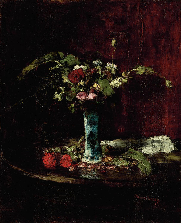 MUNKÁCSY Mihály (1844-1900): Virágcsendélet (1877-78) olaj, vászon, 76,5 x 62,5 cm jelezve jobbra lent: Munkácsy, Kovács Gábor Gyűjtemény