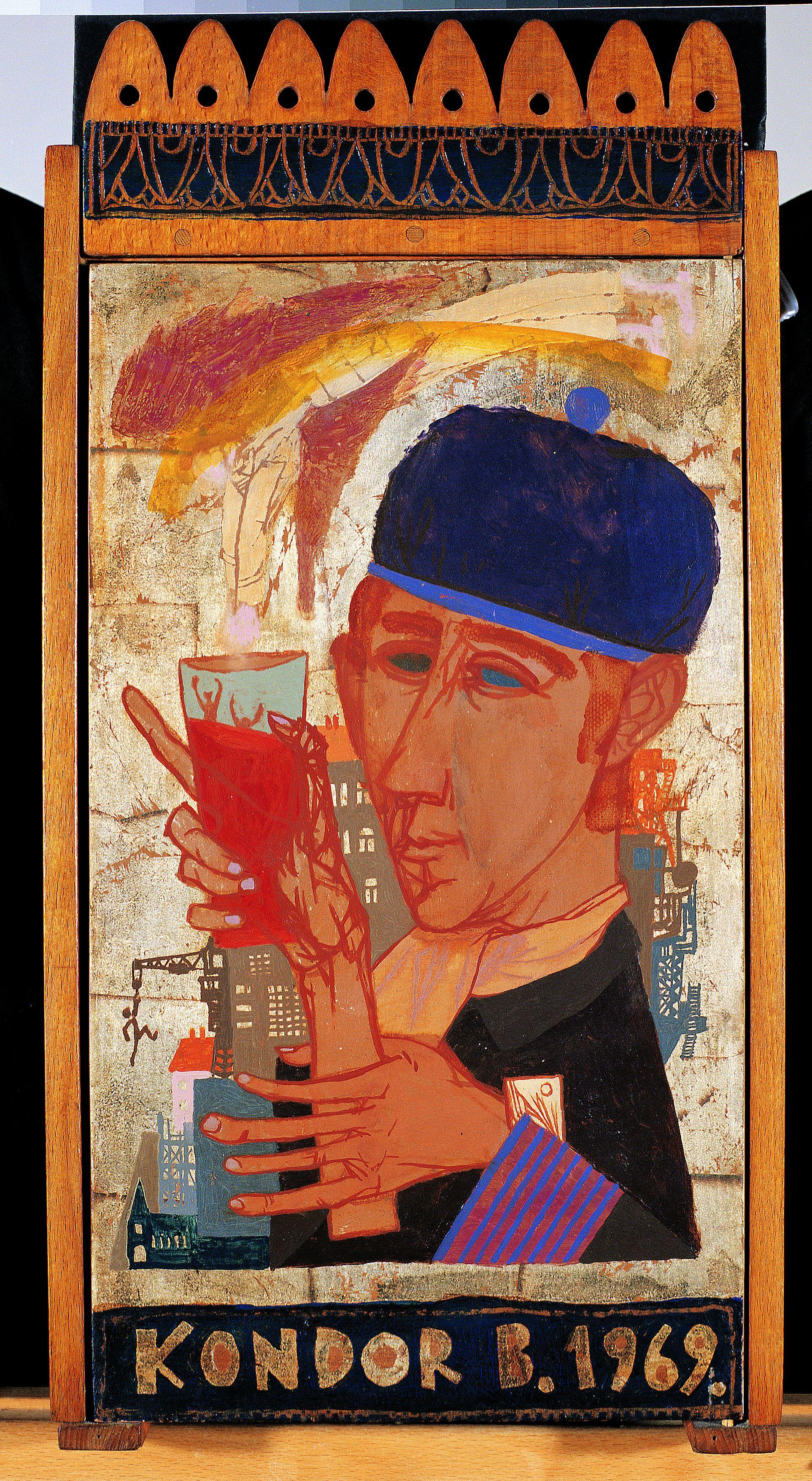 Faliszekrény (1969) olaj, fa 49 x 25 x 9 cm, Magángyűjtemény