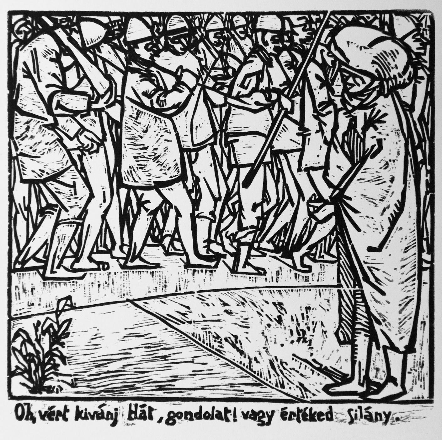 """William Shakespeare: Hamlet, IV. felvonás 4. Szín """"Oh vért kívánj hát gondolat! vagy értéked silány."""" fametszet, 142×145 mm"""