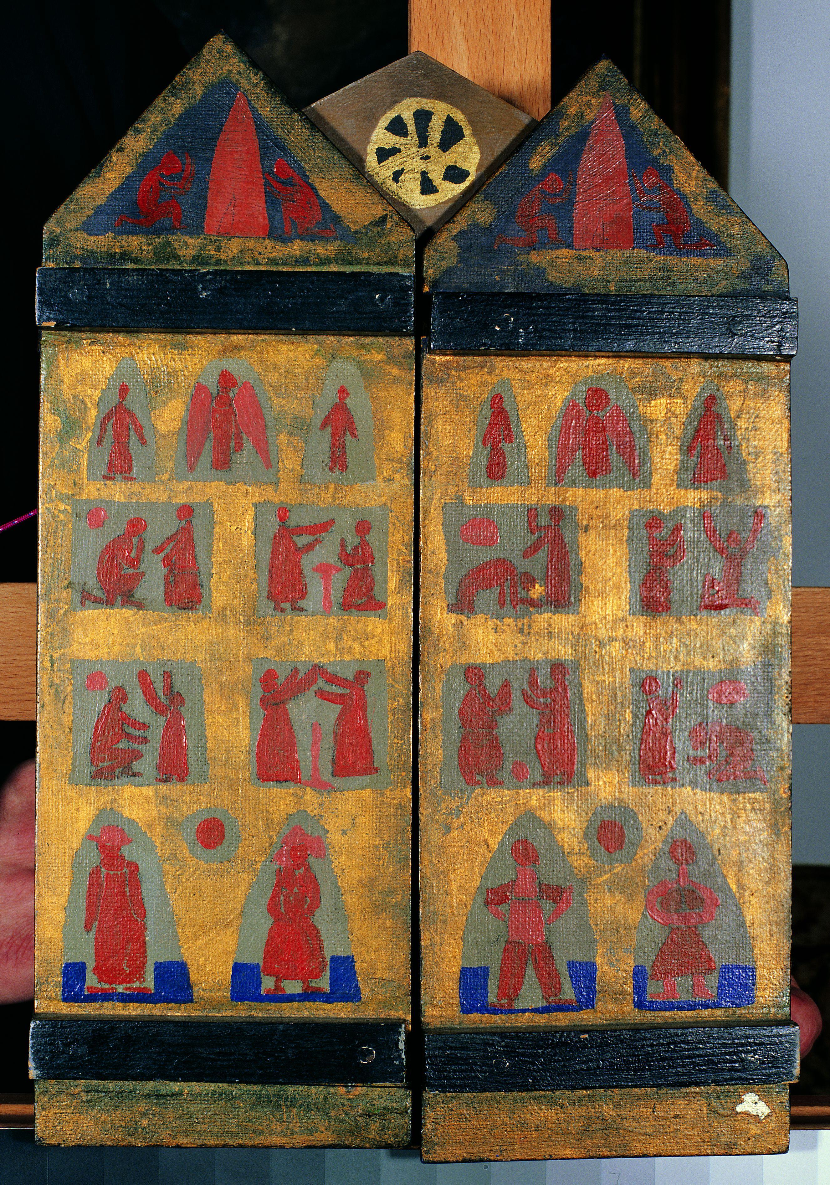 Katalin-oltár (1961) olaj, kollázs, falemez 35,5 x 48 cm, Magángyűjtemény