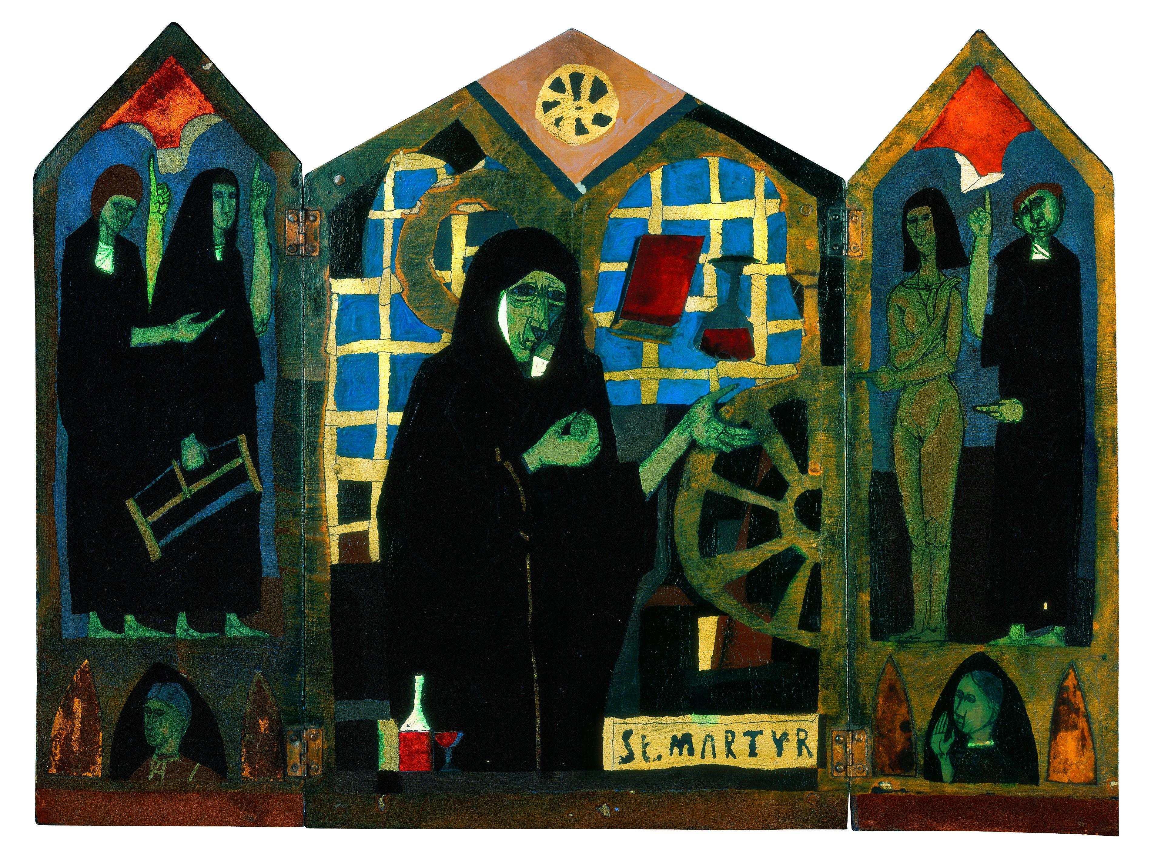 Katalin-oltár (1961) olaj, kollázs, falemez 35,5 x 48 cm Magángyűjtemény