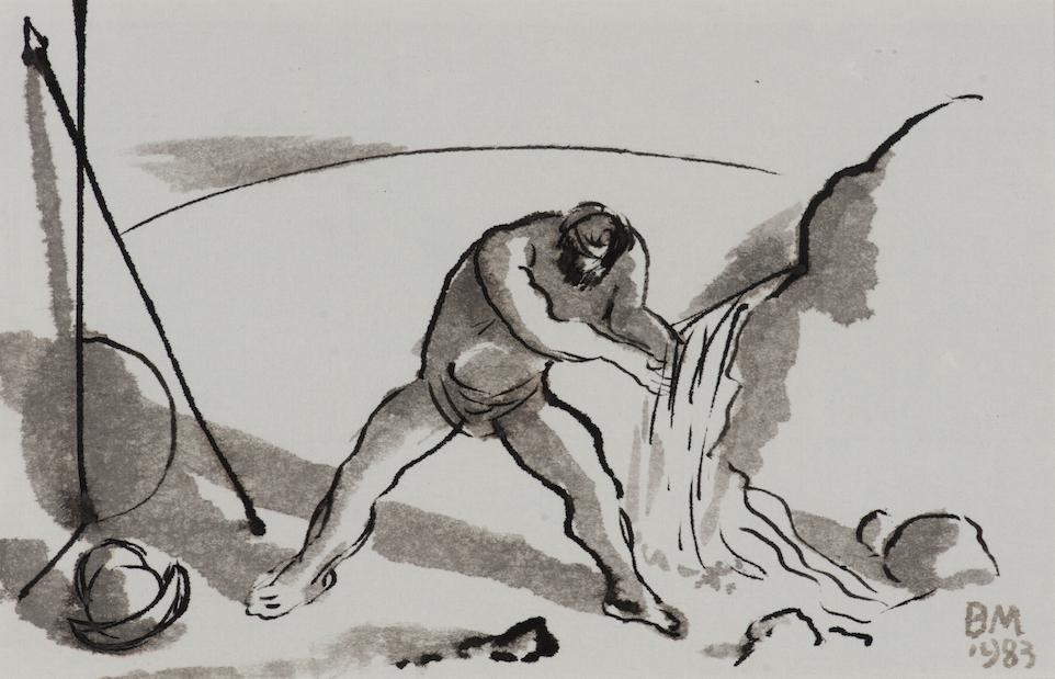 Mózes vizet fakaszt a sziklából (Mosakodó harcos) – 1983 lavírozott tus, papír, 165x250 mm