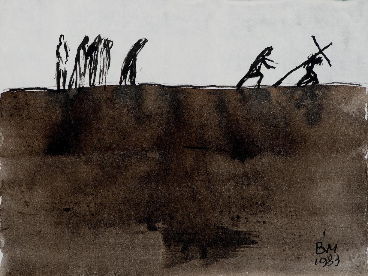 Keresztvitel (A mélyből kiáltunk) – 1983 tus, diópác, papír, 210x275 mm
