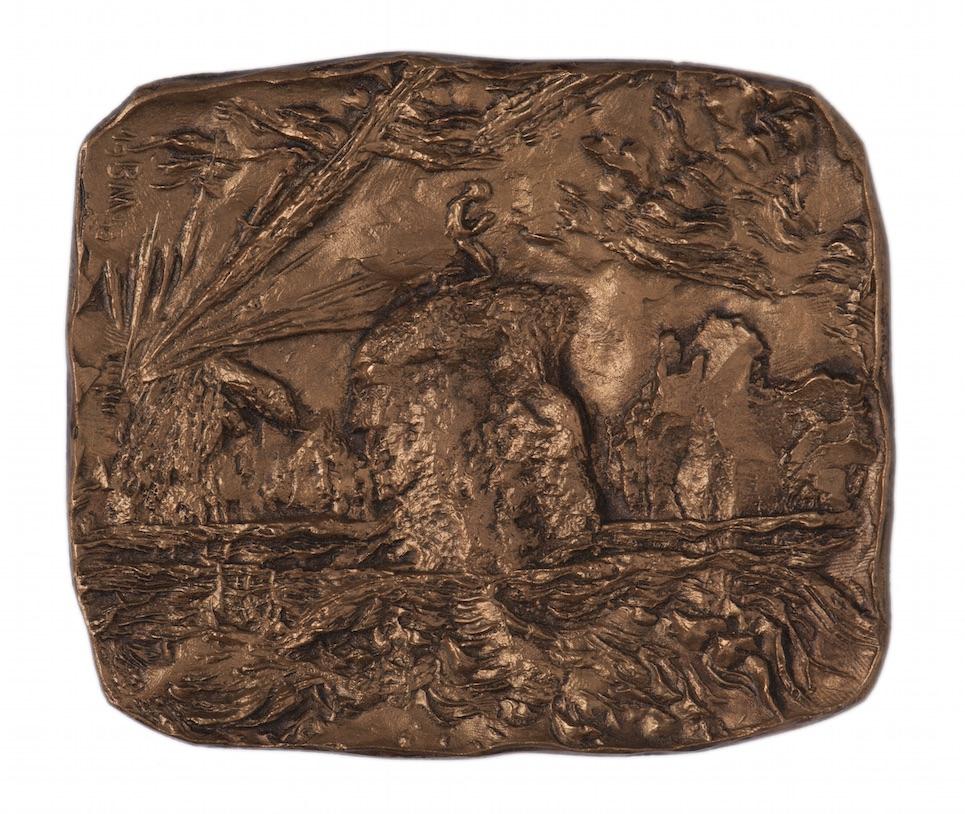 Jónás a sziklán (év nélkül) bronz, 12x14 cm