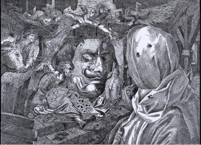 Orosz István: Dalí és a Szent család, 1988, papír, rézkarc, 373x510mm