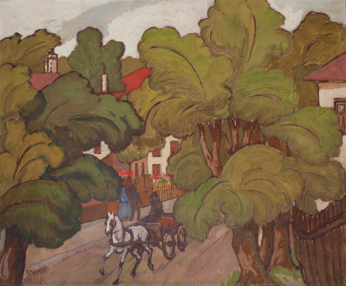 Kádár Béla (1877-1956): Falusi utca lovaskocsival (Utcarészlet)