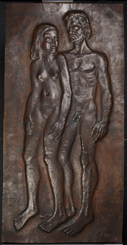 Borsos Miklós: Ádám és Éva (Ketten), 1939, rézdomborítás